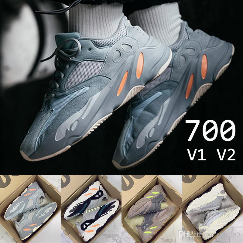 48ef7a79a With Box Inertia 700 Wave Runner Designer Shoes Static Mauve Solid Grey Kanye  West V2 Running Shoes Mens Womens Luxury Sneakers US5 11.5 Running Shoe Best  ...