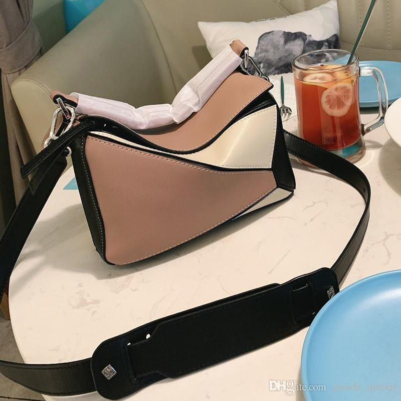 women tote bags Famous brand Boston bag top-handle bags fashion shoulder Messenger bag beautiful fashion stitching small puzzle leather sac