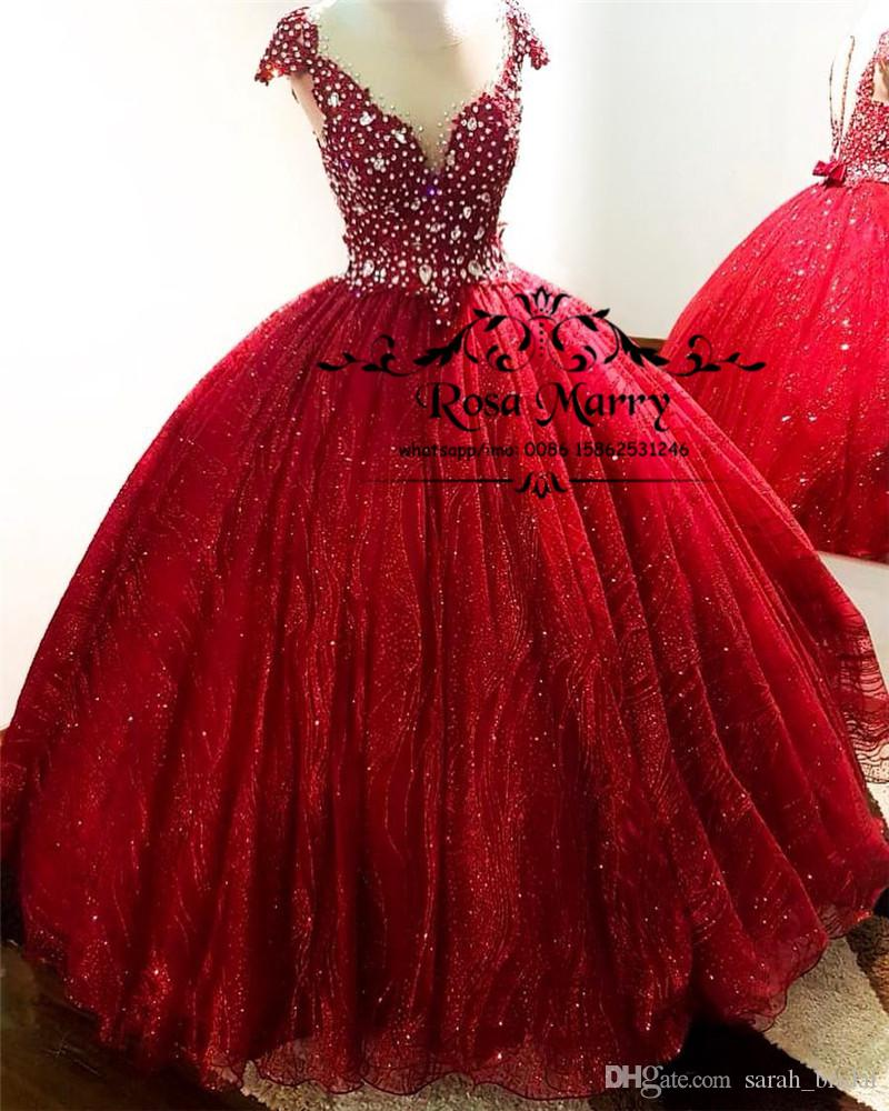 a85bf84c8a56 Red Sweet 16 Masquerade Quinceanera Dresses 2019 Ball Gown Crystal Beaded  African Girls Birthday Vestidos 15 Anos Plus Size Prom Party Gowns Sequin  Dresses ...