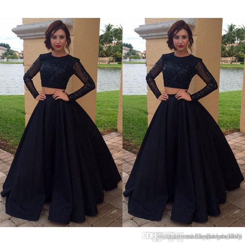 9bc106702 2018 New Black Prom Dresses Beaded With Long Sleeved A Line Satin Evening  Party Gowns Dress Made In China 2017 Vestidos Largos Formal Dresses For  Women Long ...