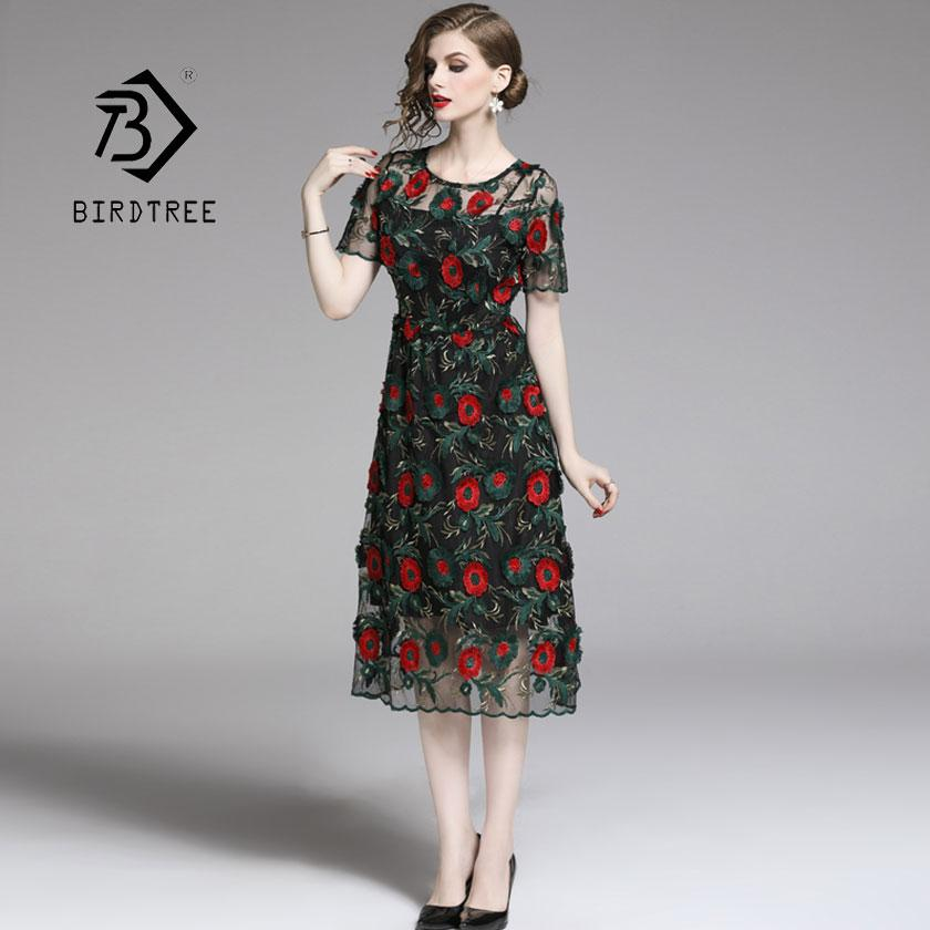 2019 New Summer Women's Black Mesh Embroidery Floral Dress Hollow O Neck High Waist Lady Zipper Vestido Vintage Hot Sale D94713Z