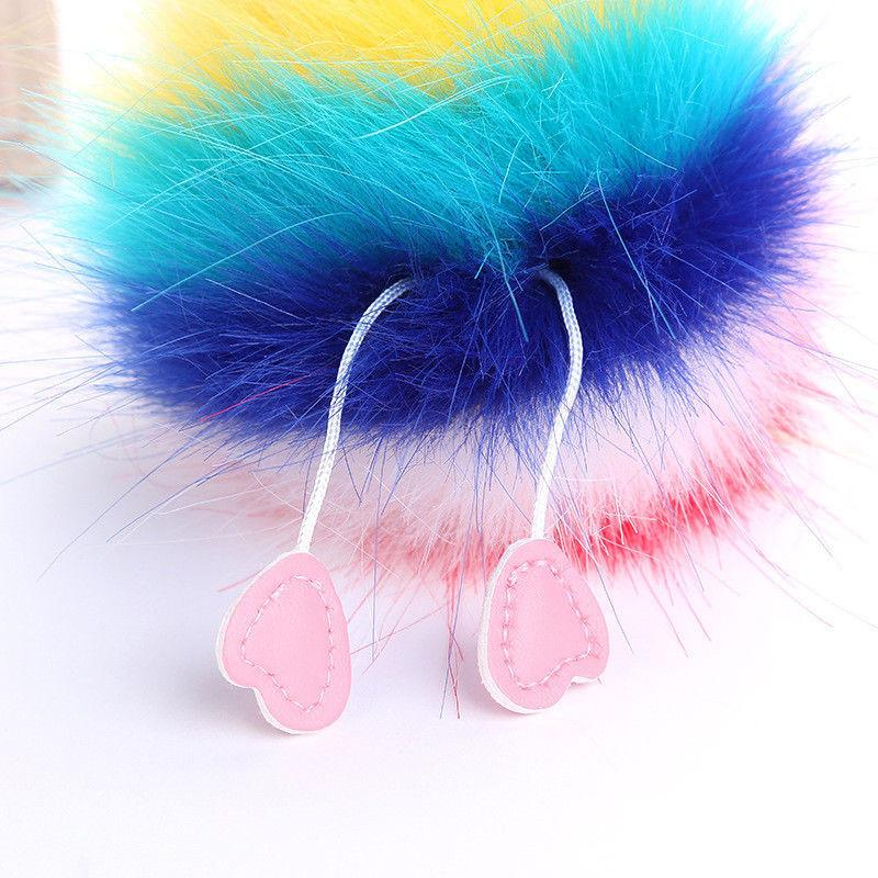 Ornamente hängende Frauen-Troddel-Pelz-Fuzzy nette Kugel Pompom Keychain Netter Taschen-Charme Schlüsselring