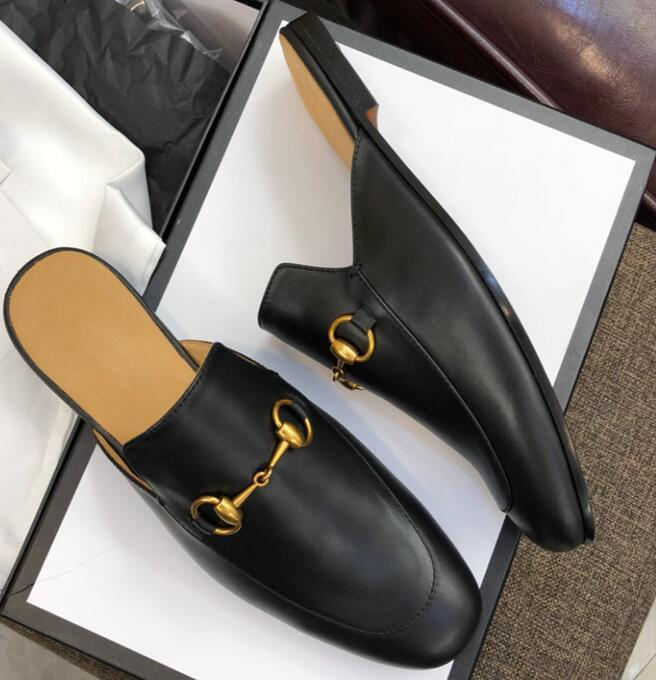 2019 Men Brand Princetown Fur Slippers Mules Bee Tiger Cat Flats Leather Loafers Designer men Fashion Casual Shoes 12