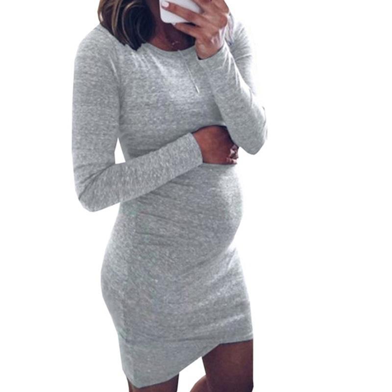 dd7136c86 Compre Embarazo Vestidos Otoñales Mujeres Embarazadas Manga Larga Bodycon  Vestido Informal Madre Ropa Para El Hogar Vestido De Maternidad A  33.19 Del  ...