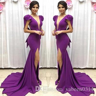 3c675fdd35 In Stock Hot Outfit Chiffon Tribute Sexy Deep V-neck Split Evening ...