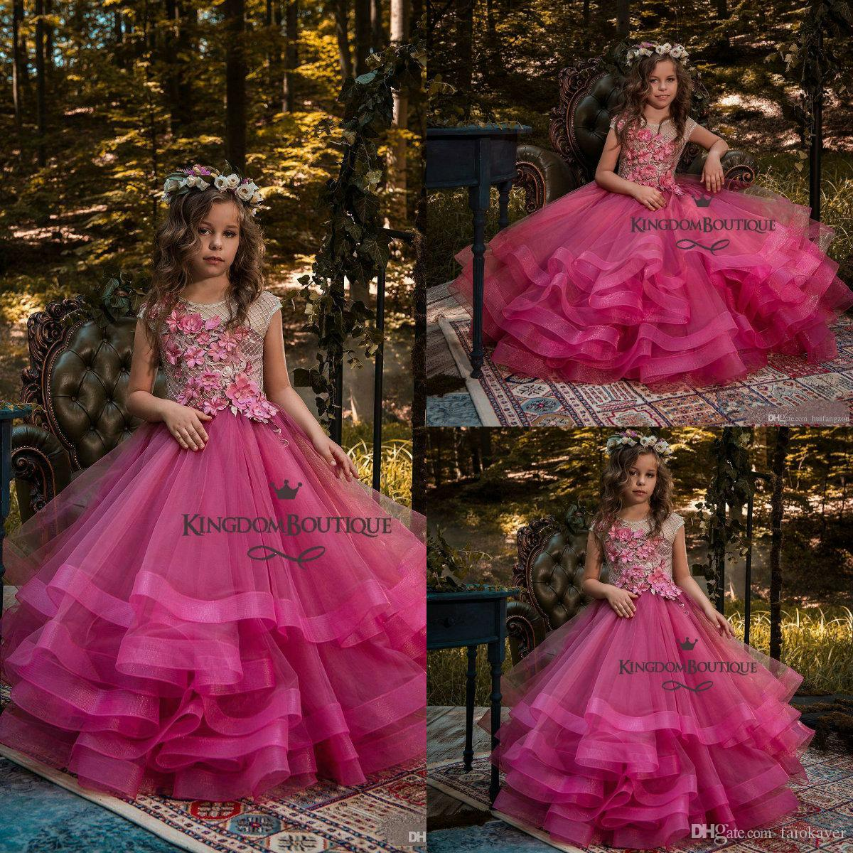 088b1e17859 2019 Fuchsia Flower Girl Dresses 3D Floral Appliques Glitter Girls Pageant  Gowns With Tiered Skirts Floor Length Kids Birthday Party Dress Flower Girl  ...