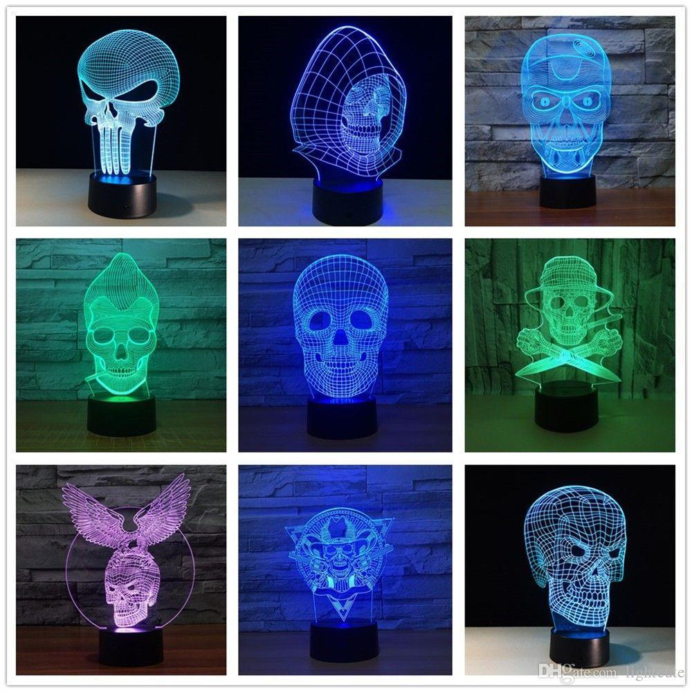купить оптом 3d Led Night Light 7 изменение цвета лампы каратель