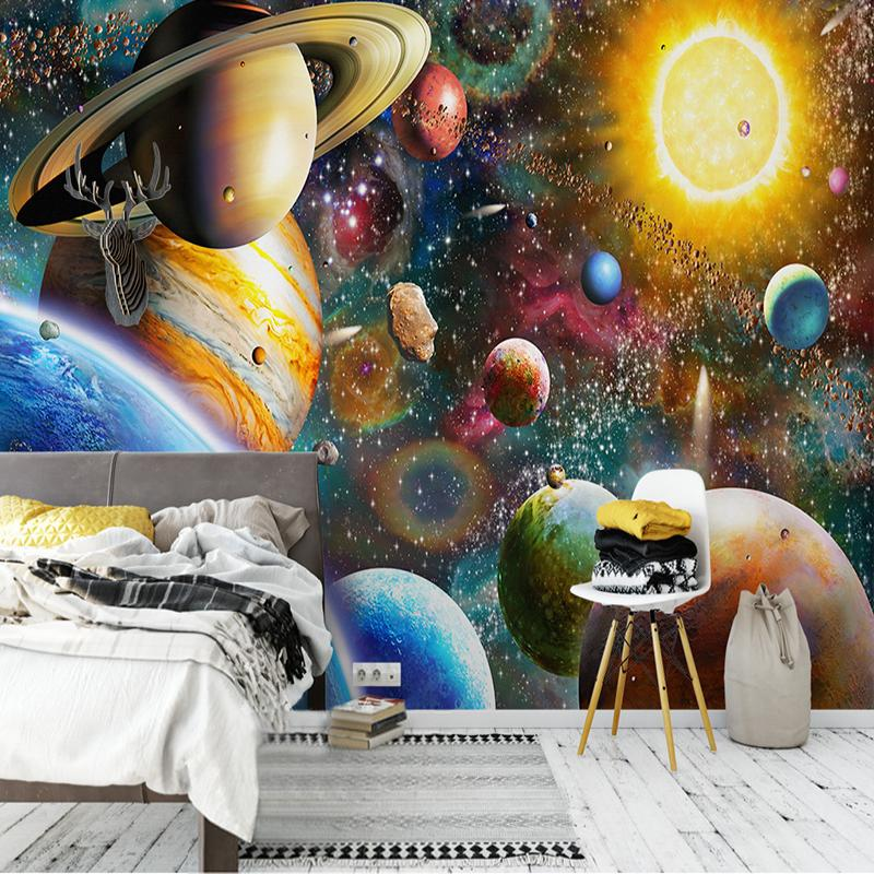 Custom Large 3d Mural Wallpaper Space Universe Children S Bedroom Gallery Background Wall Painting Frescoes Papel De Parede Sala