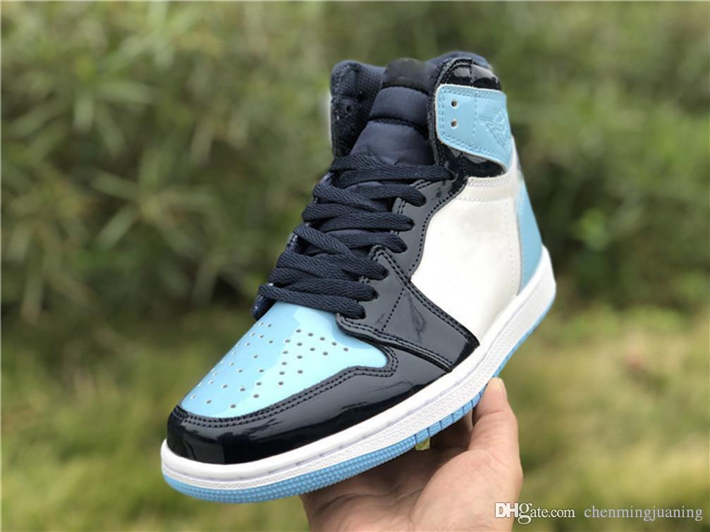 23b1e42c3e8 2019 New Release Air High 1 OG Retro WMNS ASG UNC Patent Basketball Shoes  Man Obsidian Blue Chill White 1S Sports Boots Retro Sneakers CD0461 401  From ...