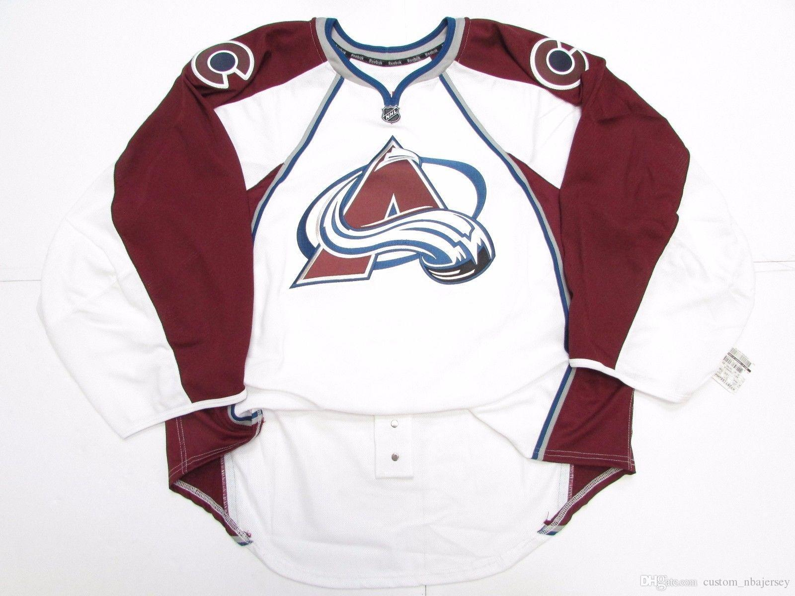 new product 9668e 8846e Cheap custom COLORADO AVALANCHE NEW AWAY JERSEY GOALIE CUT 58 stitch add  any number any name Mens Hockey Jersey
