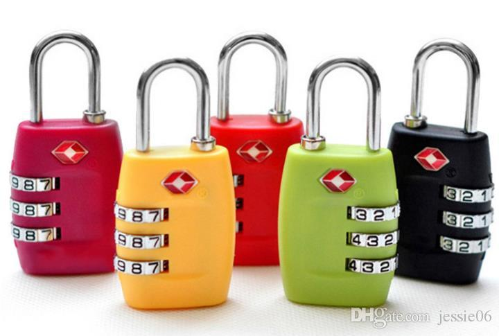 TSA Security Code Luggage Locks 3 Digit Combination Steel Keyed Padlocks Approved Travel Lock for Suitcases Baggage 7colors