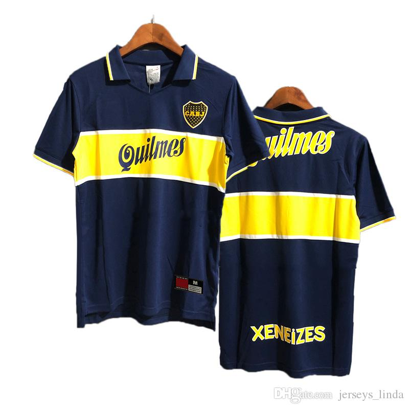 Argentina Boca Junior Retro Jersey Tayland Boca Juniors Retro 1997 Ev Futbol Formaları Maradona Messi Classic Football Wear