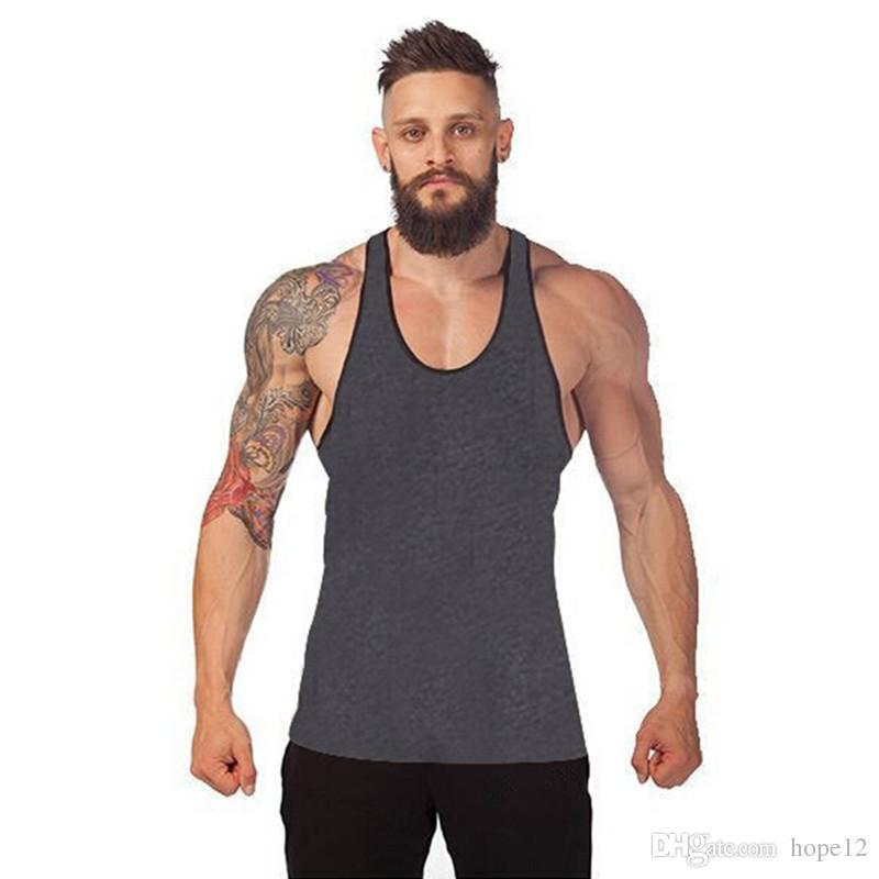 Heißer Verkauf Bodybuilding-Marken-Trägershirt-Männer Stringer-Trägershirt-Eignungs-Unterhemd-ärmelloses Hemd-Trainings-Mann-Unterhemd-Kleidung