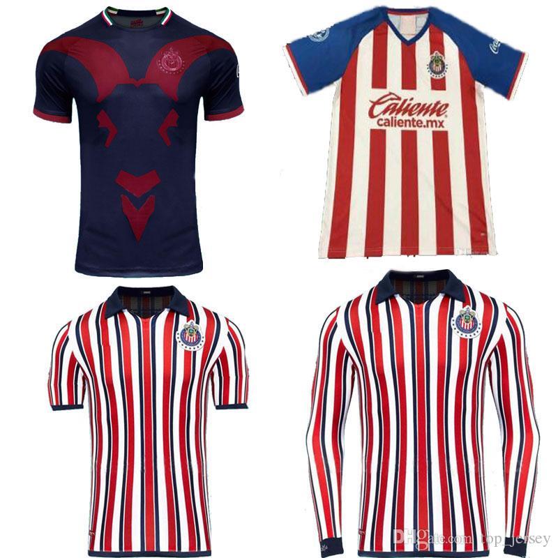 5714434bb Tamaño S 2XL MÉXICO Club Chivas De Guadalajara Hogar Camisa De Fútbol 19 20  A.PULIDO LOPEZ 2019 Por Top jersey