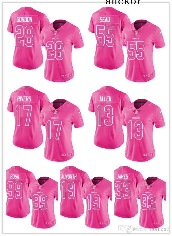 on sale bb645 27328 Los Angeles MEN WOMEN YOUTH 28 Melvin Gordon 17 Philip Rivers Limited  Jersey Football Chargers Pink Rush Fashion