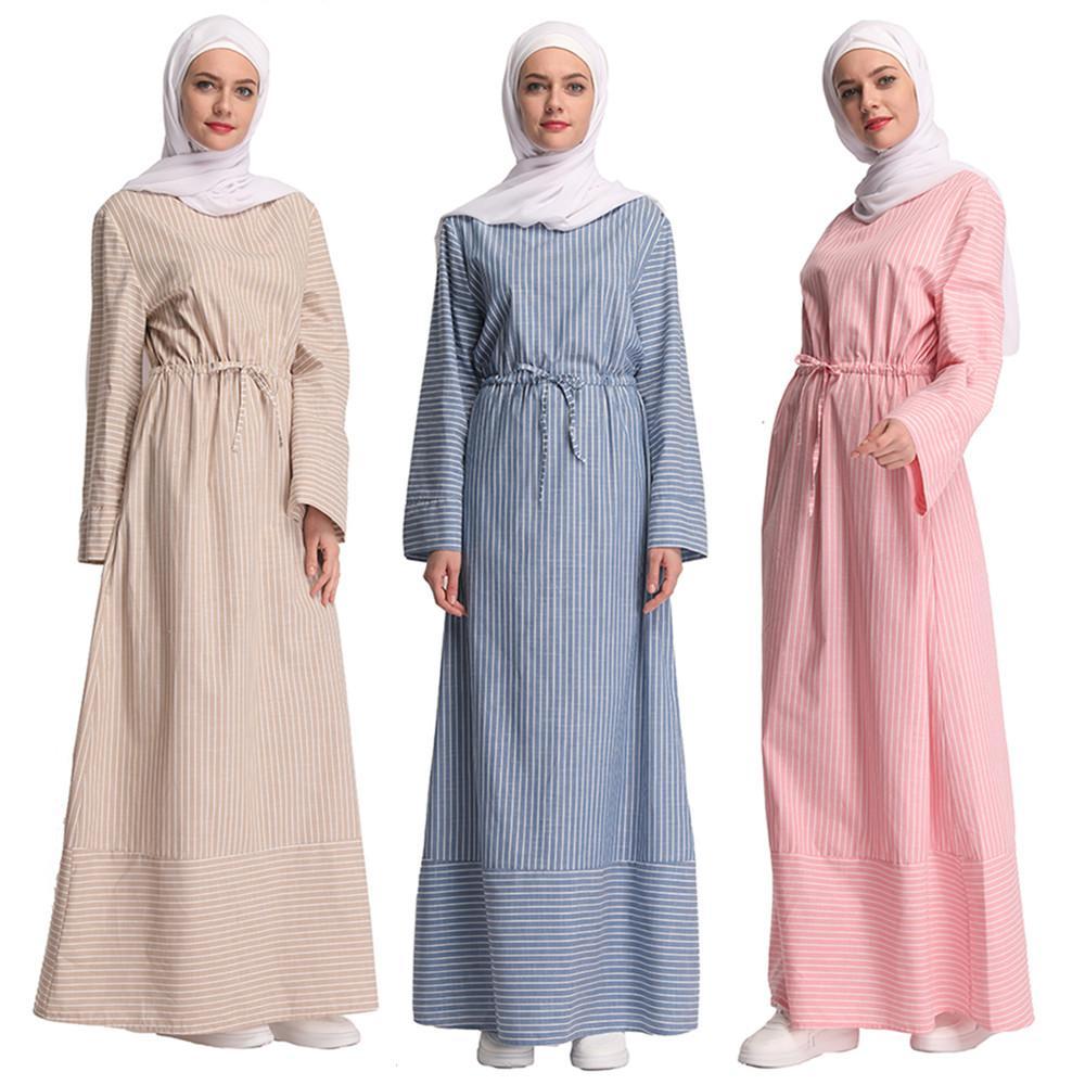 761931de358 2019 Casual Muslim Striped Abaya Full Dresses Cardigan Kimono Long Robe  Gowns Tunic Vestidos Middle East Ramadan Turkish Arab Islamic From Xinpiao,  ...
