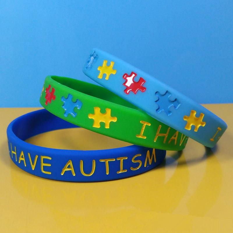 5b6fc5785899 Creative Mulitcolor Autism Silicone Wristband Puzzle Letter Bracelet Strap  Youth Adult Jewelry Fashion Novelty Items Party Gifts TTA703