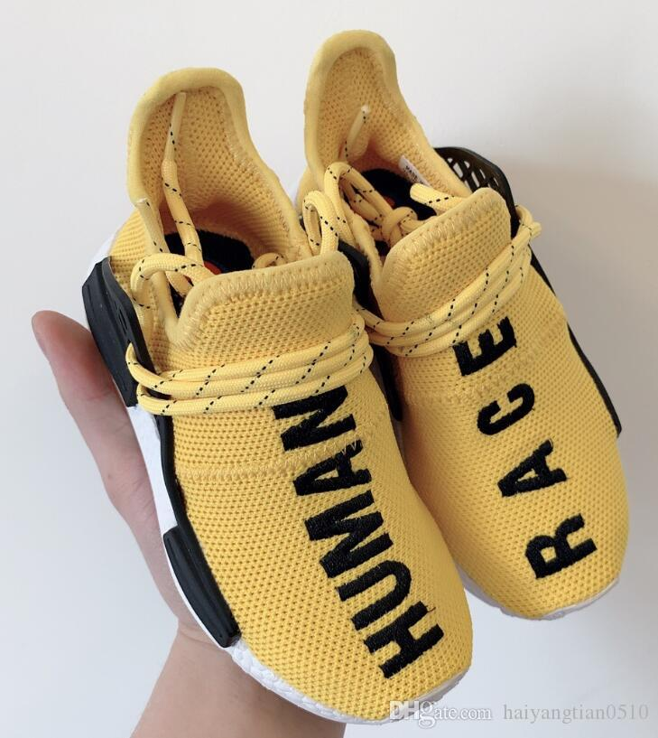buy online 34e6c e4760 2019 kids Human Race Runing Shoes boys girls Solar Pack Black Yellow PW HU  HOLI Pharrell Williams Children Sneakers baby birthday gift 26-35