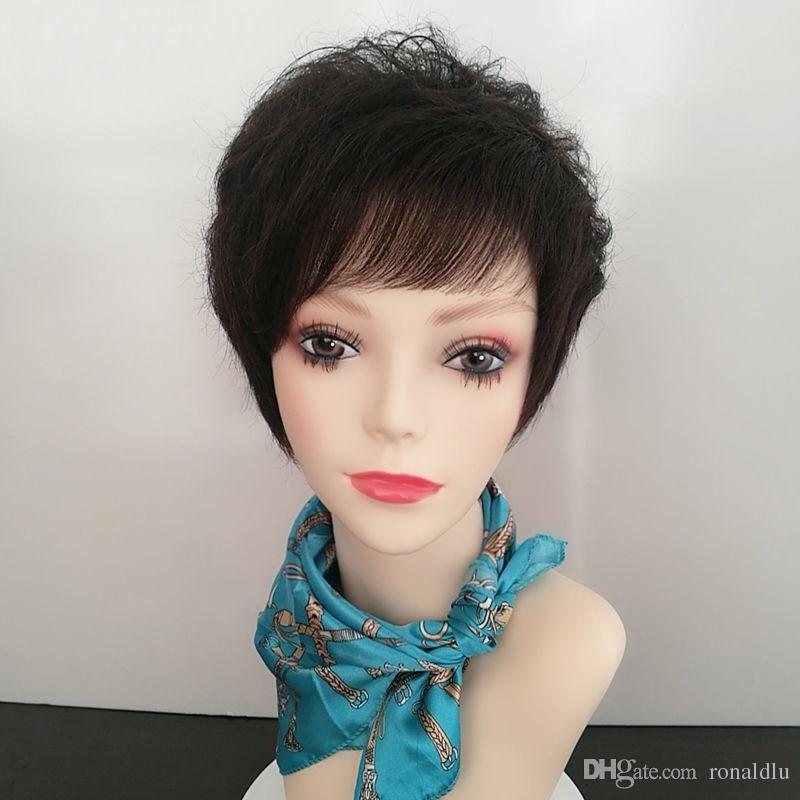 Wig Woman Short Hair Real Hair Lady In Middle And Old Age Short