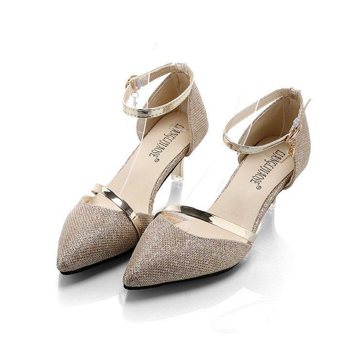 1dd371b5e1f0 Dress Shoes Spring Women Pumps 2019 Ladies Pumps Sexy Gold   Sliver Pointed  Toe Rhinestones Party Wedding Women 5cm Heels Slippers For Men Loafer Shoes  From ...