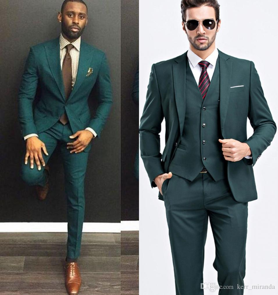 713a667fc6 Green Custom Made Slim Fit Mens Business Suit Jacket + Pants + Vest  Handsome Men's Suits Spring 2019 Hot Sell Groom Wedding Suits