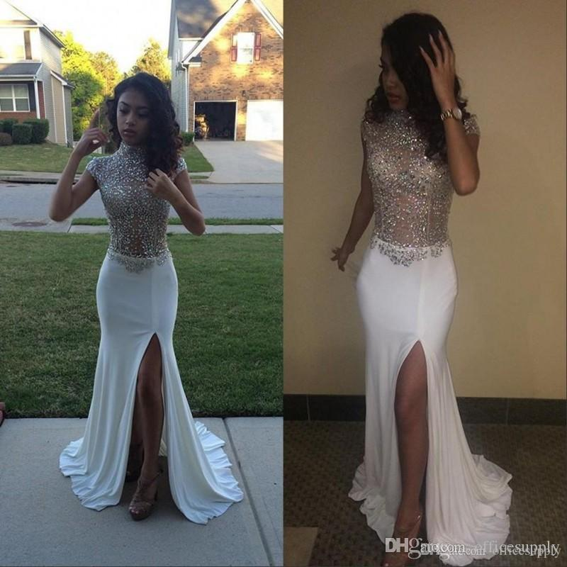 White Prom Dresses Mermaid High Neck Front Split Cap Sleeves Sequins Beading Long African Evening Pageant Party Gowns