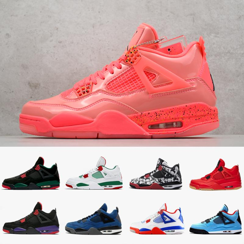 71037c0fba6 2019 4 Basketball Shoes Hot Punch Cactus Jack NRG Raptors Royalty Tattoo 4S Singles  Day White Cement Mens Sports Sneakers Designer Shoes Jordans Running ...