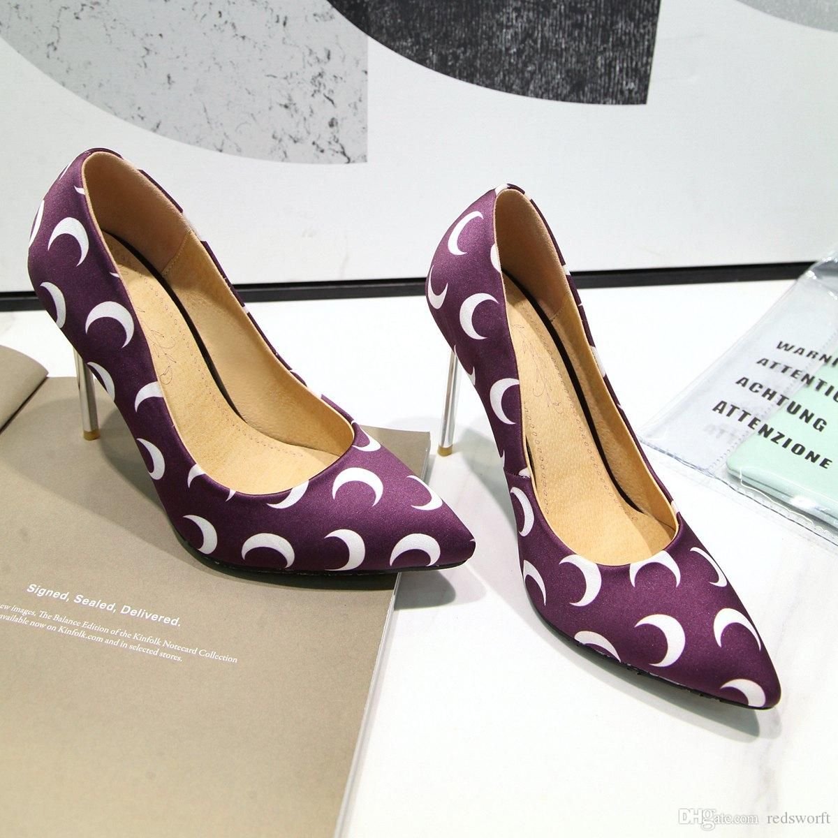 a51b1e50335 New Sexy Stiletto Heel Suede Moon Printed Pointed Toe Women Pumps 100mm  Fashion High Heels Shoes for Women Office Dress Shoes Leather Women High  Heel Moon ...