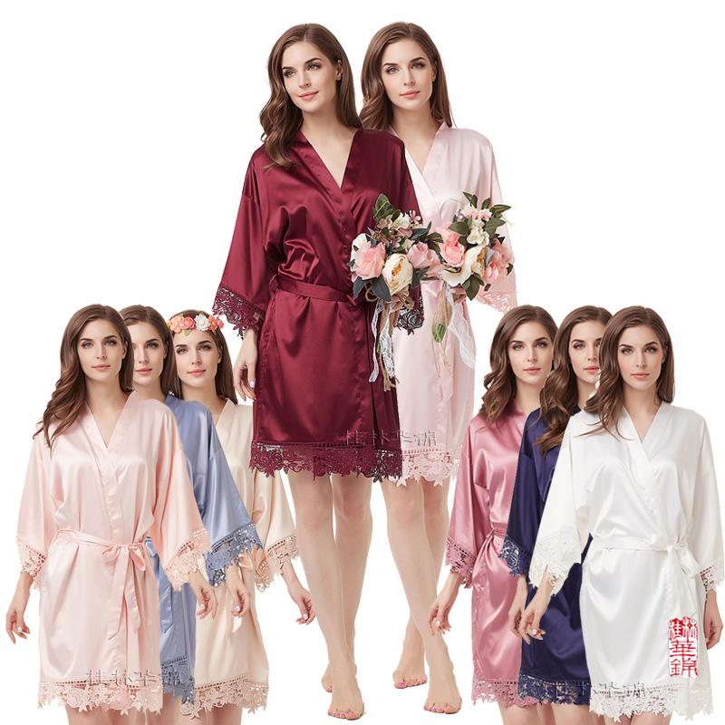 63636517720c 2019 Silky Lace Robe Satin Bridesmaid Robes Bride Robe Bridal Party Robes  Bridesmaid Gifts Lace Trim Wedding Party Gift Bridesmaids From Beatricl, ...