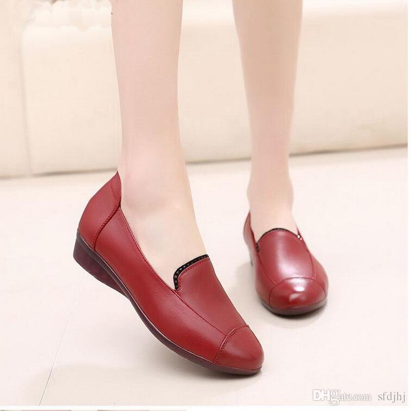 a7c21d0e788 Spring And Autumn Genuine Leather Flat Shoes Low Heel Soft Sole ...