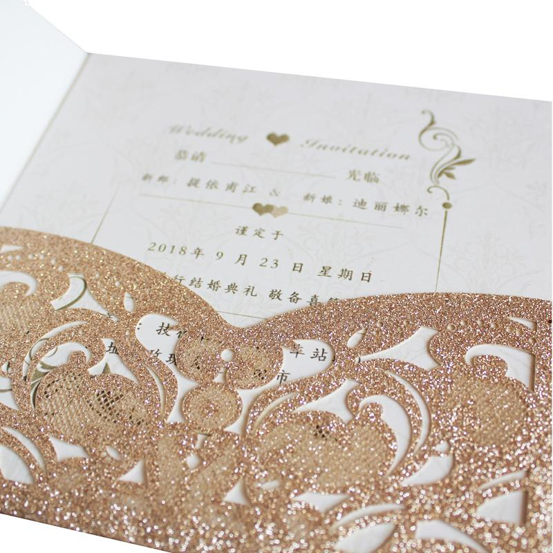 2019 Romantic Tir Fold Pocket Rose Golld Glitter Print Wedding