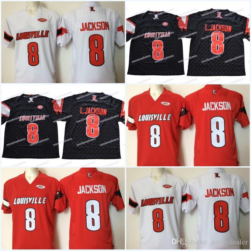 the latest ba52e 4c764 Men NCAA Louisville Cardinals 8 Lamar Jackson 5 Bridgewater College  Football Jerseys Top Quality Free Shipping
