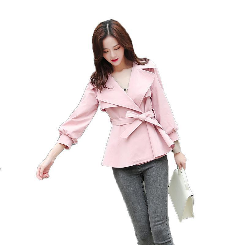 Autumn Fashion Womens Pure Colour Short Windbreaker Coat 2019 New Females Trend Double-breasted Bandage Slim Trench Coats