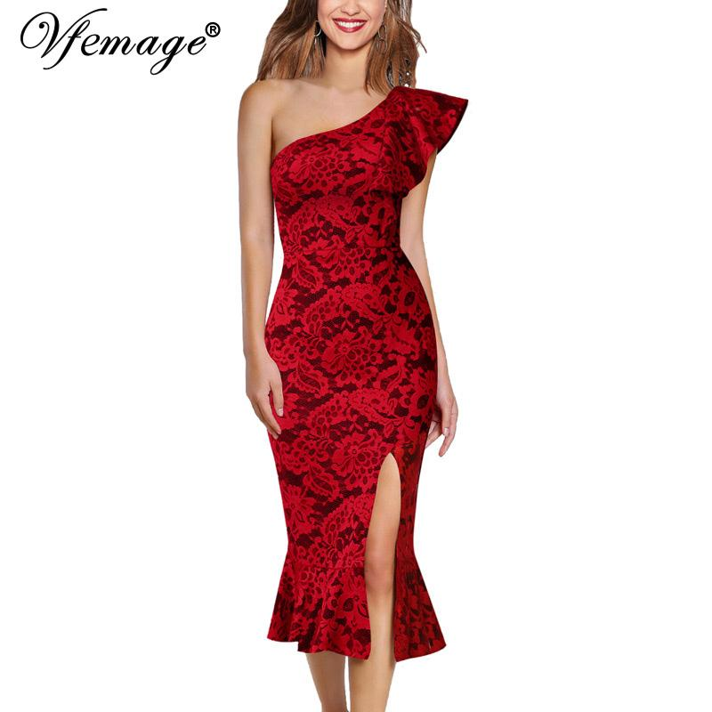 15b871c9385f Wholesale Women Sexy Ruffle One Shoulder High Slit Fitted Cocktail Party  Club Slim Bodycon Pencil Fishtail Mermaid Midi Dress 1110 Short Evening  Dresses ...
