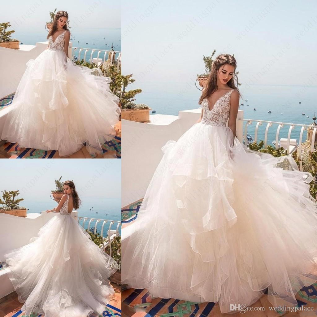 f242cc020b611 Discount 2019 V Neck Beach Wedding Dresses A Line Tiered Skirt Sexy Open  Back Lace Wedding Bridal Gowns Maternity Wedding Gowns Vestido De Novia  Wedding ...