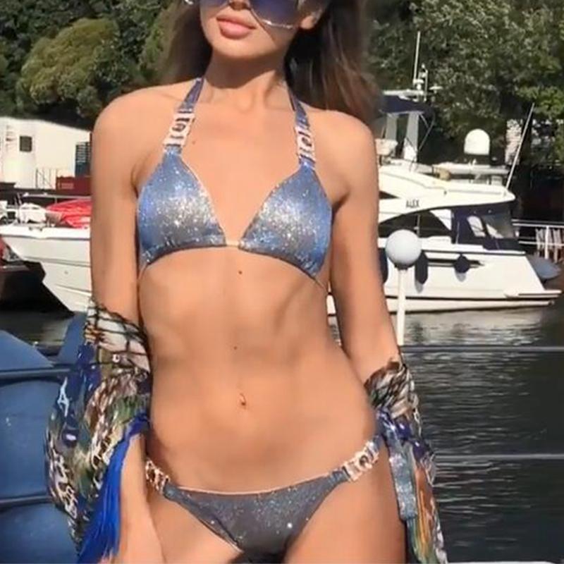 06137b90bff 2019 Giltter Bikini Push Up Crystal Swimsuit Women Rhinestone Swimwear  Halter Micro Bikini Shiny Swimsuits Sequins Bikinis 2019 From Eggplant18,  ...