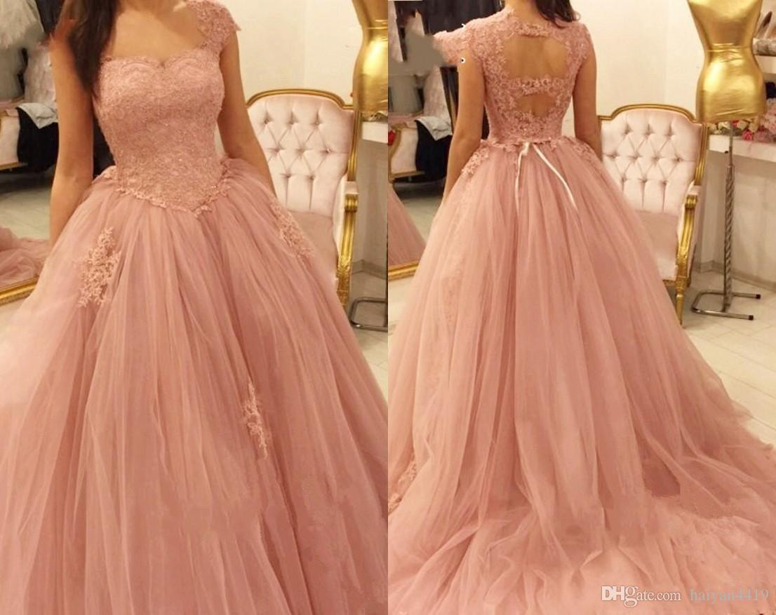 93174372595 2019 New Blush Pink Quinceanera Ball Gown Dresses Tulle Cap Short Sleeves  Lace Appliques Sweet 16 Dress Sweep Train Party Prom Evening Gowns  Quinceanera ...