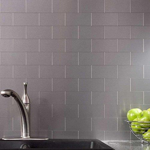 Fabulous Peel And Stick Stainless Steel Backsplash Tiles 3 X 6 Brushed Metal Silver Mosaic 100 Pieces Download Free Architecture Designs Intelgarnamadebymaigaardcom