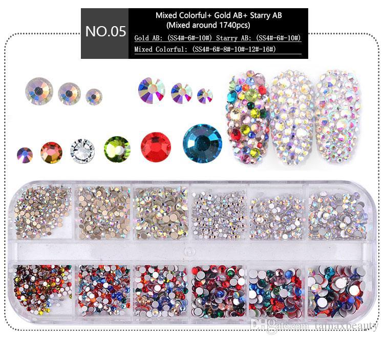 99364f79d4 NA053 1 Box Multi Size Crystal Nails Decorations Acrylic Round Colorful  Glitters Rhinestones DIY Nail Art Accessoires