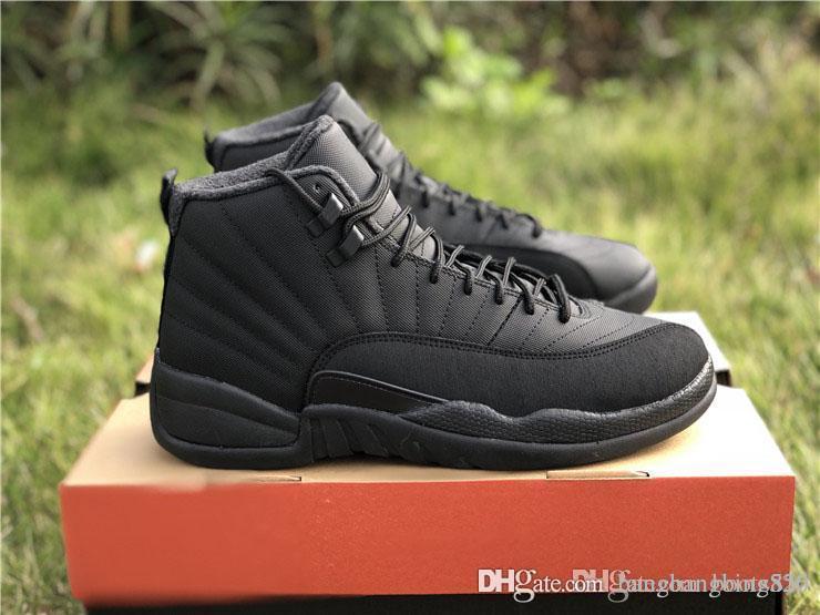 4408bfa440fc 2018 Release Retro Authentic 12 High Winterized Triple Black 12S WNTR  Anthracite Men Basketball Shoes Sports