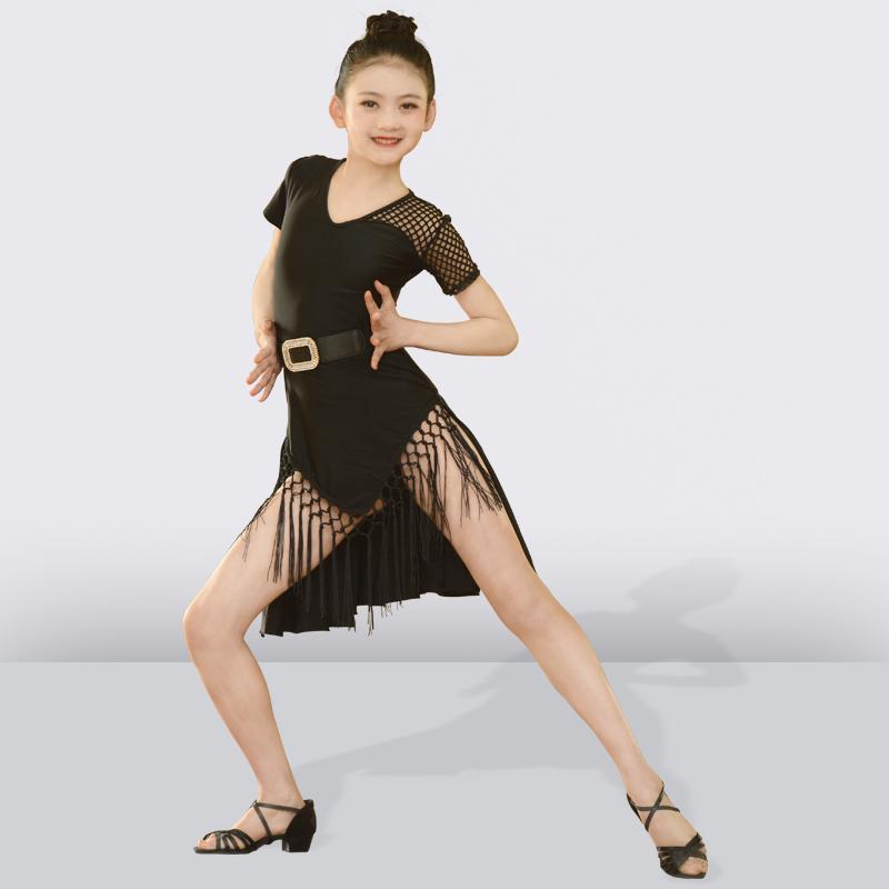 fc7967586f09a 2019 Black Tassel Latin Dance Dress For Girls Children Salsa Tango ...