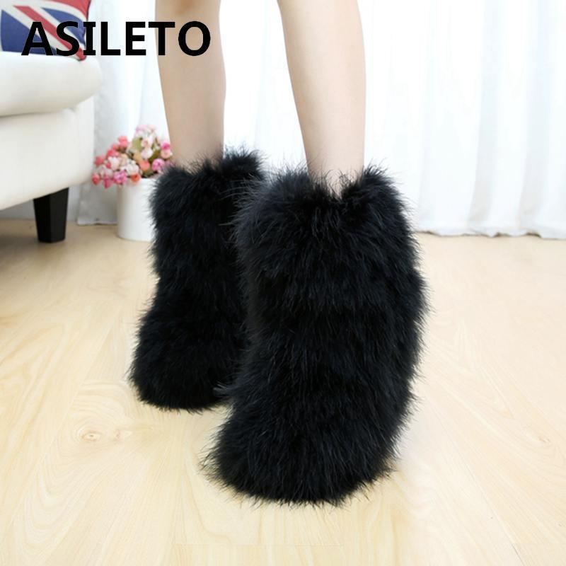 a0a09bf29e0 2019 ASILETO Winter shoes Women Snow Boots Genuine Real hairy Ostrich  Feather furry Fur plush ski ankle boots women booties botteT517