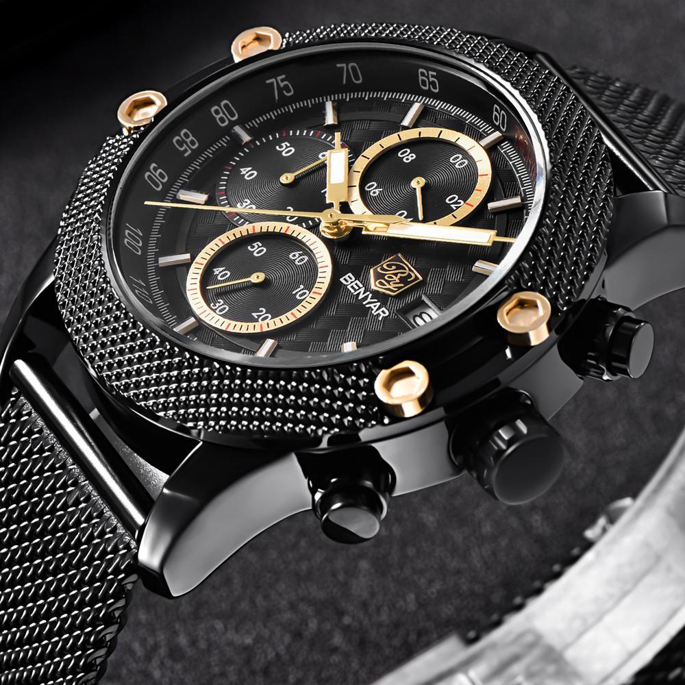 ea5527926f76 Compre BENYAR Deporte Cronógrafo Relojes De Moda Hombres Malla De Goma  Elástica Marca De Lujo Reloj De Cuarzo Saat De Oro Dropshipping A  61.53 Del  Harden11 ...