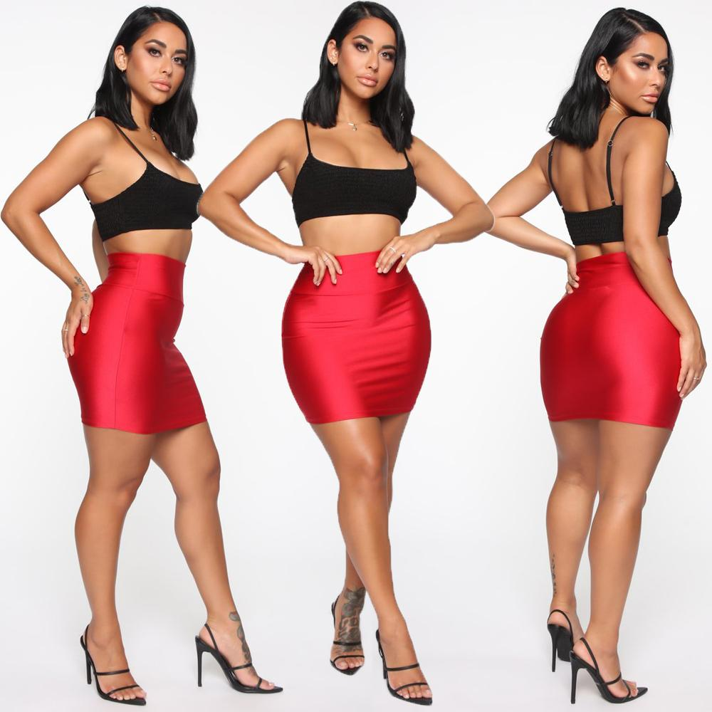 Mulheres Moda Casual Sólidos macios Saias Ladies New Hot cintura elástica Bodycon Mini saia do lápis