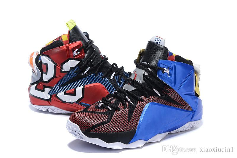 huge discount 99085 413c0 Lebron 12 mens basketball shoes for sale MVP Christmas BHM Blue Easter  Halloween Akronite DB youth kids sneakers boots with Size 7 12