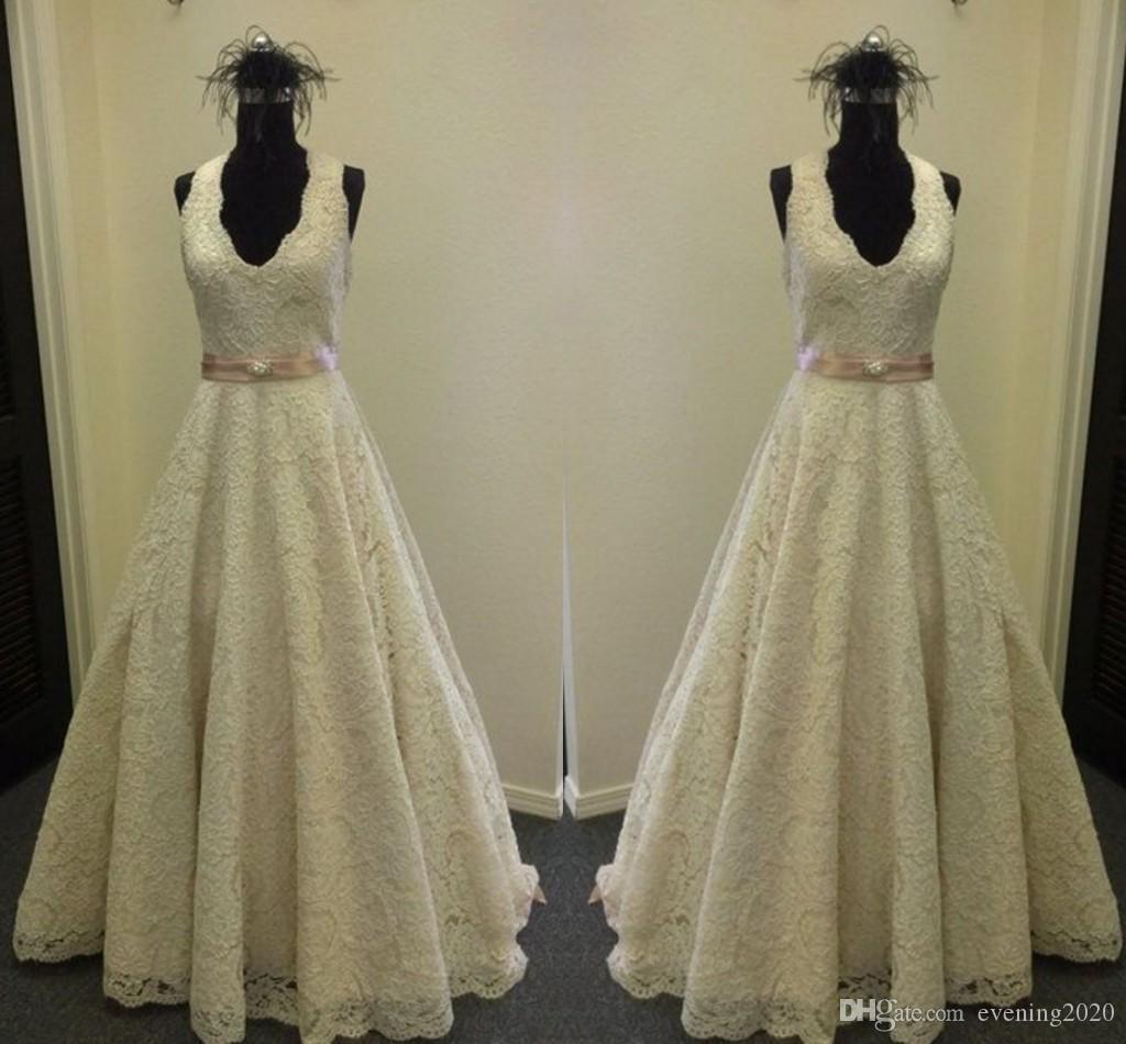 5bc2aaca8b8c Discount Vintage V Neck Wedding Dress Lace Dresses Floor Length A Line Lace  Bridal Dresses Tiered Skirts Sash Natural Wedding Gowns Celebrity Wedding  ...