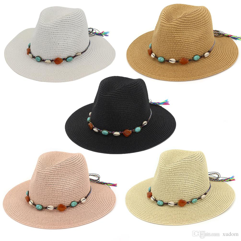 abaf81faa2305 Wholesale New Spring Snd Summer Fashion Casual Hats Jazz Hat Outdoor Beach  Sunscreen Big Hat Straw Hat Black Brown White Hats Vintage Hats Mens Caps  From ...