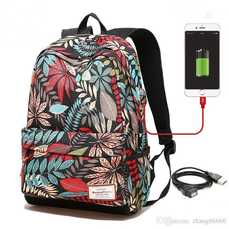 2e9df4faaa78c Crazy2019 Women USB Charging Laptop Backpack For Teenage Girls School  Backpack Bag Printing Female Backpacks For College Students Dakine  Backpacks Back Pack ...