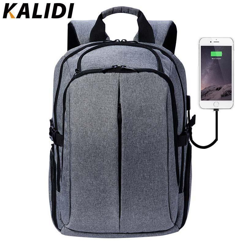 ffbad6656c6bd Großhandel KALIDI 17 Zoll Laptop Rucksack Für Teenager Marke Männer Rucksack  Schultasche Wasserdichte Vintage Reise 15