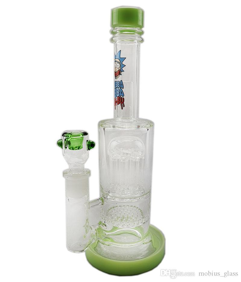 Mobshop Glass Bong Wasserpfeife Dab Oil Rig Honey Comb Percs Wasserpfeifen 8 Tree Arm Percs 14.4mm Straight Tube Bongs
